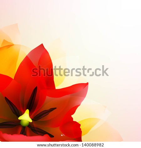 Borders Of Red Tulips And Pink Blur With Gradient Mesh, Vector Illustration