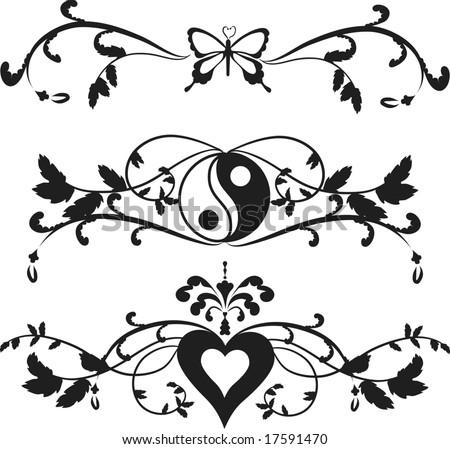 Borders Yin Yang Symbol Butterfly Hearts Stock Vector ...