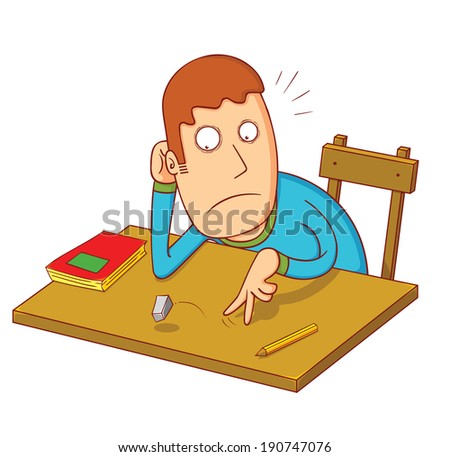 bored student - stock vector