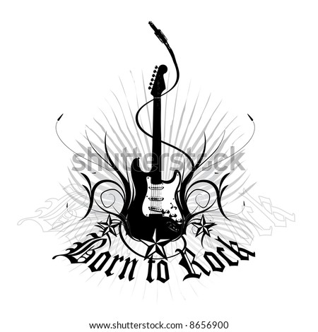 born to rock vector - stock vector