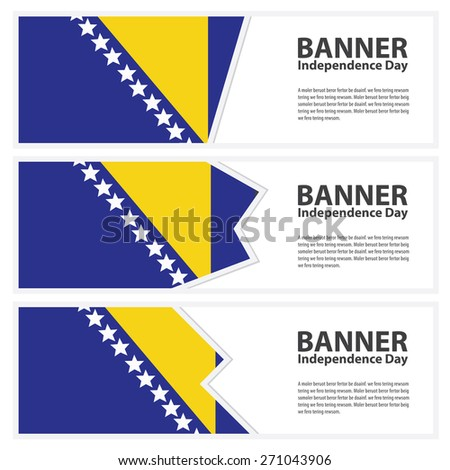 bosnia and herzegovina  Flag banners collection independence day - stock vector