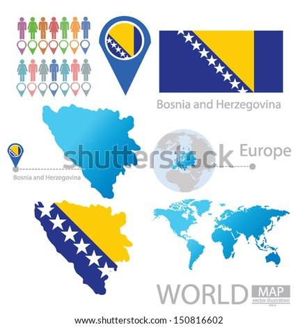 Bosnia and Herzegovina. flag. World Map. vector Illustration. - stock vector
