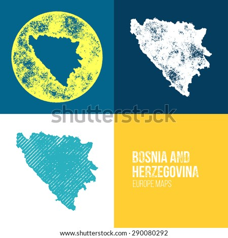 Bosnia and Herzegovina Grunge Retro Map - Three silhouettes Bosnia and Herzegovina maps with different unique letterpress vector textures - Infographic and geography resource - stock vector
