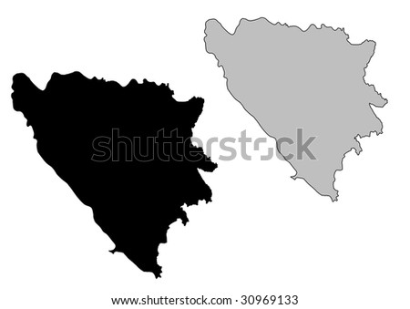 Bosnia and Herzegovina map. Black and white. Mercator projection. - stock vector