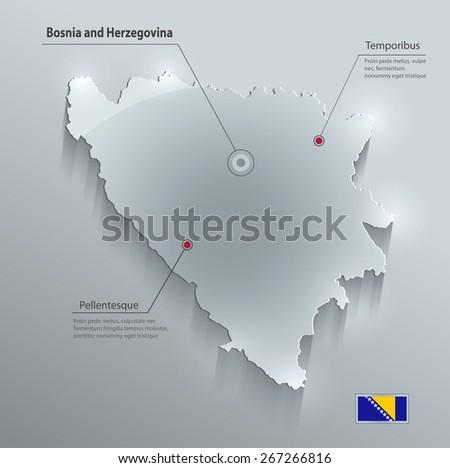 Bosnia and Herzegovina map flag glass card paper 3D vector - stock vector