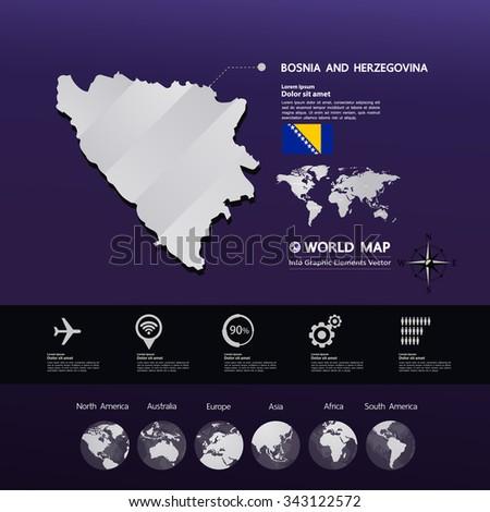 Bosnia and Herzegovina Map vector - stock vector