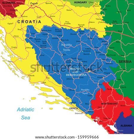 Bosnia & Herzegovina map - stock vector