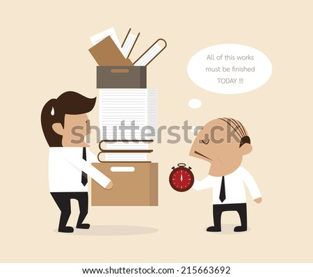 Boss and employee - stock vector