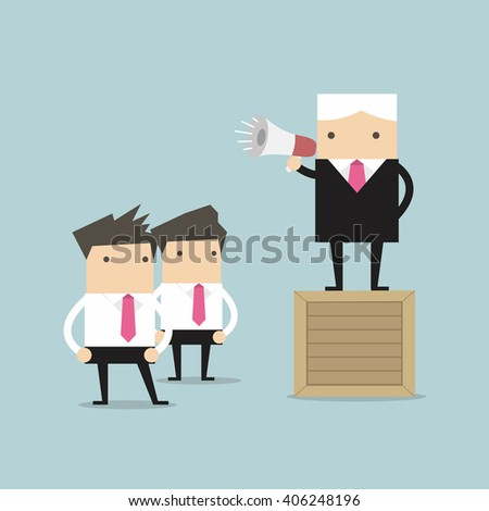 Boss commanding officers into a megaphone. - stock vector