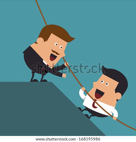 Boss giving hand to help young businessman from failed situation, Business concept - stock vector
