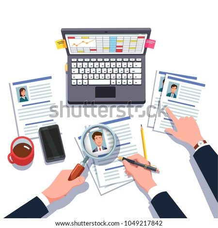 Boss HR Manager Looking Through Business Stock Vector 1049217842 ...