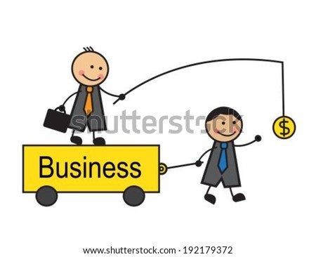 Boss is on the trolley and holds the money in front of a business employee. Businessman comes to money and drags cart.  - stock vector