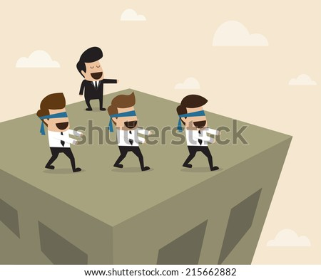 Boss leads employees to the wrong way - stock vector