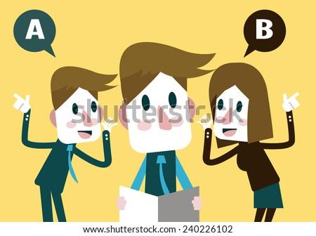 Boss listening business plan from Marketing Team.  flat design character. vector illustration - stock vector