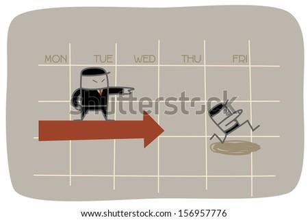 boss pressure employee to work for deadline - stock vector