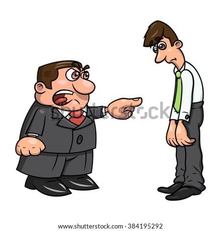 Boss screaming at clerk 2 - stock vector