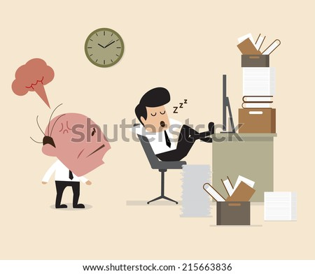 Boss see Employee fall asleep during working - stock vector