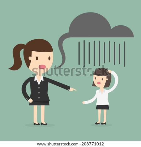 Boss shouting at an employee - stock vector