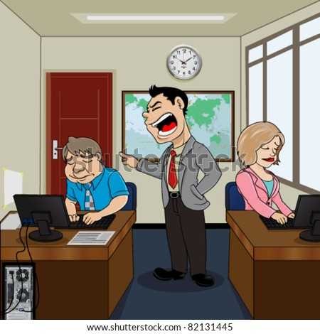 Boss yell angry on employees - stock vector