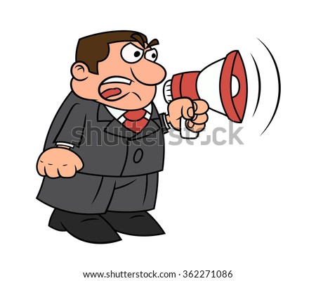 Boss yelling into megaphone - stock vector