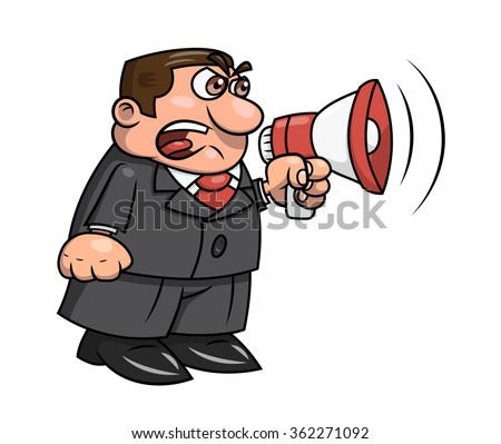 Boss yelling into megaphone 2 - stock vector
