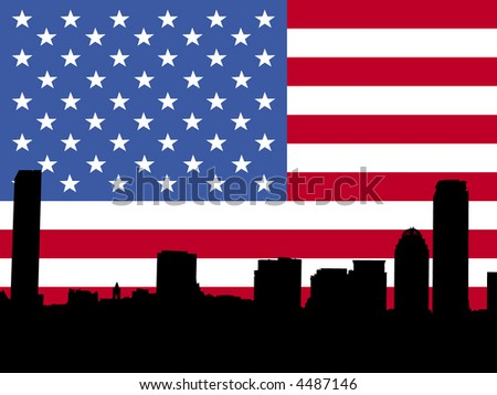 Boston skyline against American Flag illustration - stock vector