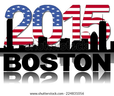 Boston skyline 2015 flag text vector illustration - stock vector