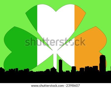Boston skyline Happy St Patricks day illustration - stock vector