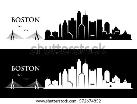 boston skyline massachusetts vector illustration stock vector rh shutterstock com Chicago Skyline Vector Boston Massachusetts Skyline