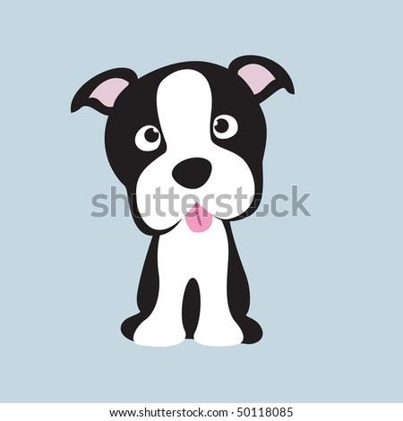 Boston Terrier pup - stock vector