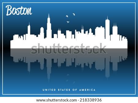 Boston, USA skyline silhouette vector design on parliament blue background. - stock vector