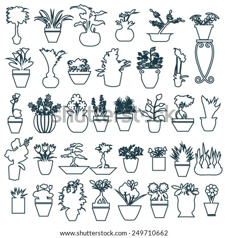 botanical set outline of Black white Herbs pots - Illustration - stock vector