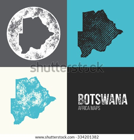 Botswana Grunge Retro Maps - Africa - Three silhouettes Botswana maps with different unique letterpress vector textures - Infographic and geography resource - stock vector