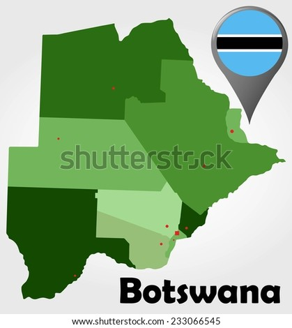 Botswana Political Map Green Shades Map Stock Vector 233066545
