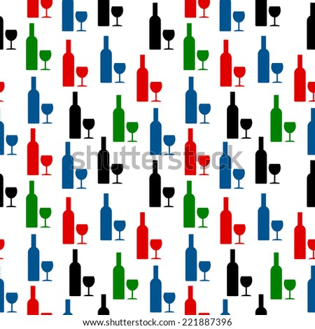 Bottle and glass icon seamless pattern on white background. Vector illustration. - stock vector