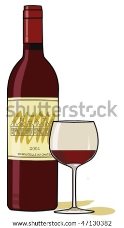 Bottle and glass of red wine - stock vector