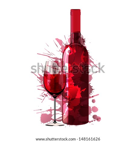 Bottle and glass of wine made of colorful splashes - stock vector