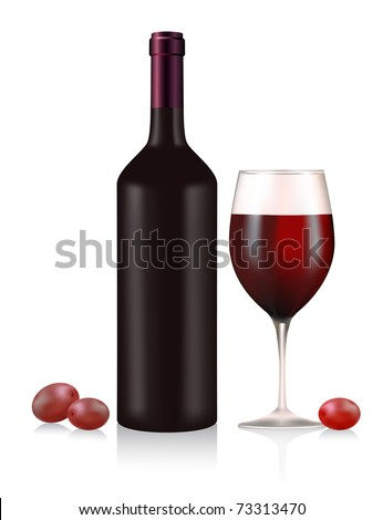 Bottle and glass with red wine and berries
