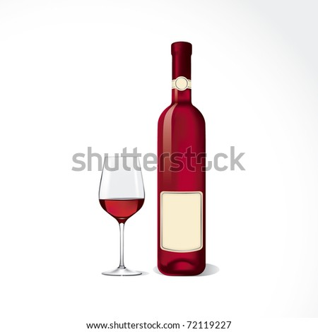 Bottle and glass with rose wine. - stock vector