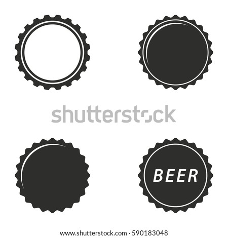 bottle cap vector icons set black stock vector 590183048