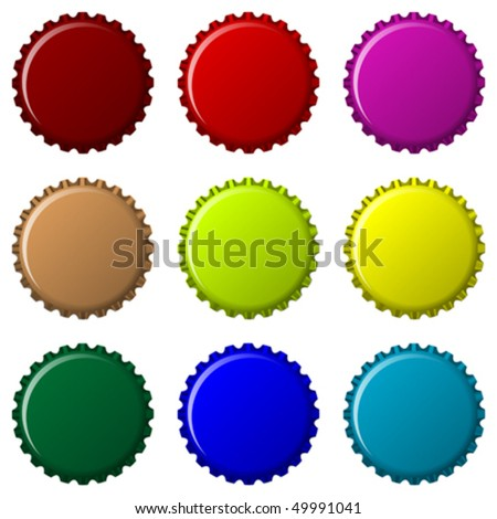 bottle caps in colors isolated on white background, abstract vector art illustration - stock vector