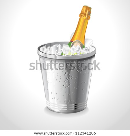Bottle champagne in a bucket with ice on the white Vector illustration