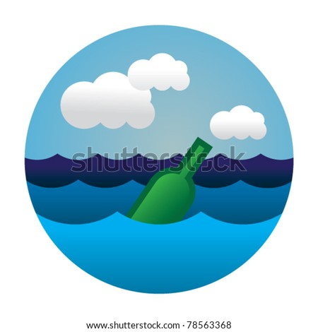Bottle floating in the see waves - stock vector