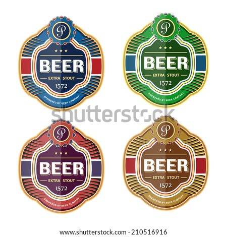 Bottle label logo template. Vector illustration - stock vector