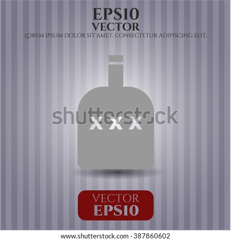 Bottle of alcohol vector icon or symbol - stock vector
