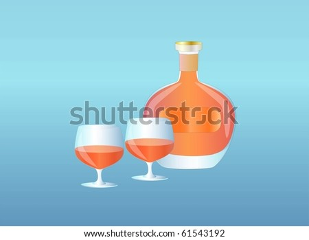 bottle of brandy and glasses ( background on separate layer ) - stock vector