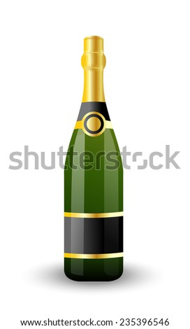 bottle of champagne on a white background,vector illustration