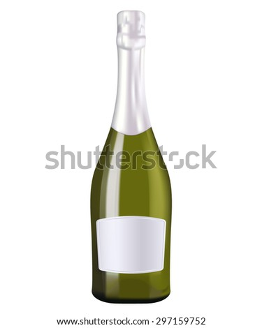 Bottle of champagne. Vector drawing isolated on white background