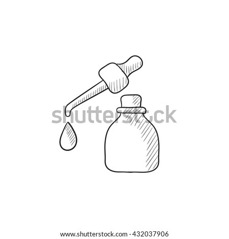 Bottle of essential oil and pipette with drop vector sketch icon isolated on background. Hand drawn essential oil and pipette icon. Bottle of essential oil sketch icon for infographic, website or app. - stock vector