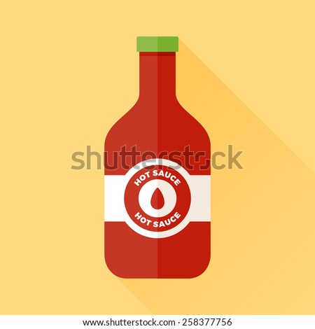 Bottle of hot sauce with label and green cap - stock vector